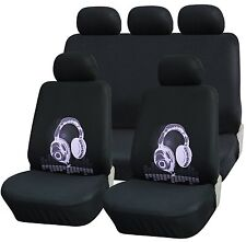 TRUYOO 9PC Universal Racing Style Car Seat Cover Protector Set Headphone