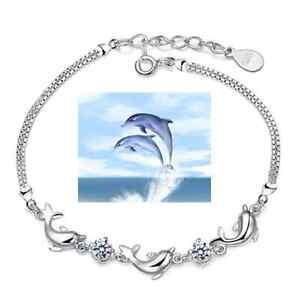 Bracciale-Braccialetto-Donna-Moda-delfino-argento-Cristallo-Regalo-Zircone