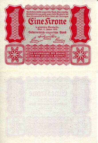 AUSTRIA 1 Krone Banknote World Paper Money aUNC Currency Pick p73 1922 Bill Note