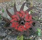 Antique Steampunk Iron Rotary Hoe Wheel Garden Farm Yard Art Decor