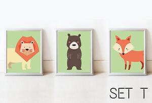 Image Is Loading Set3 Bear Lion Fox Nursery Decor Wall Art