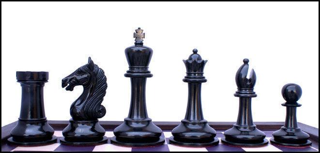 Antiguo Guerrero Serie Premium Staunton 4  juego de ajedrez de madera de ébano y caja