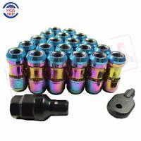 Neo Chrome Extended Dust Cap Steel Wheel Lug Nut Rims Tuner M12x1.5 With Lock