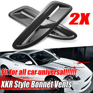 Carbon Fiber Look XKR Style ABS Bonnet Vents Intakes For Jaguar For BMW VW
