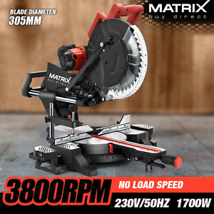 "New Matrix 305MM 12"" Sliding Compound Mitre Saw Belt Driven Drop Saw Cut Off Saw"