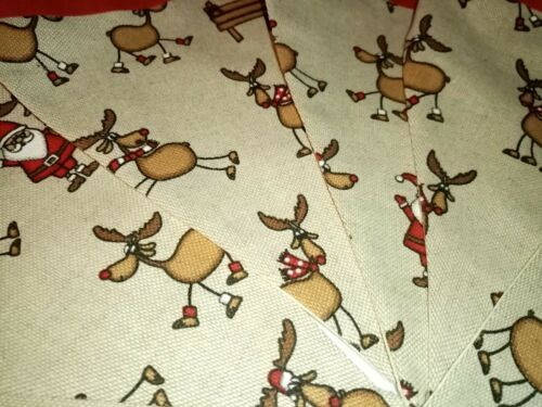 Handmade Fun Reindeer Fabric Bunting 12 flags