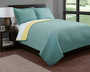 Baltic Linen Soft and Cozy Reversible Twin Quilt Set-Solid Nile Blue/Golden Haze
