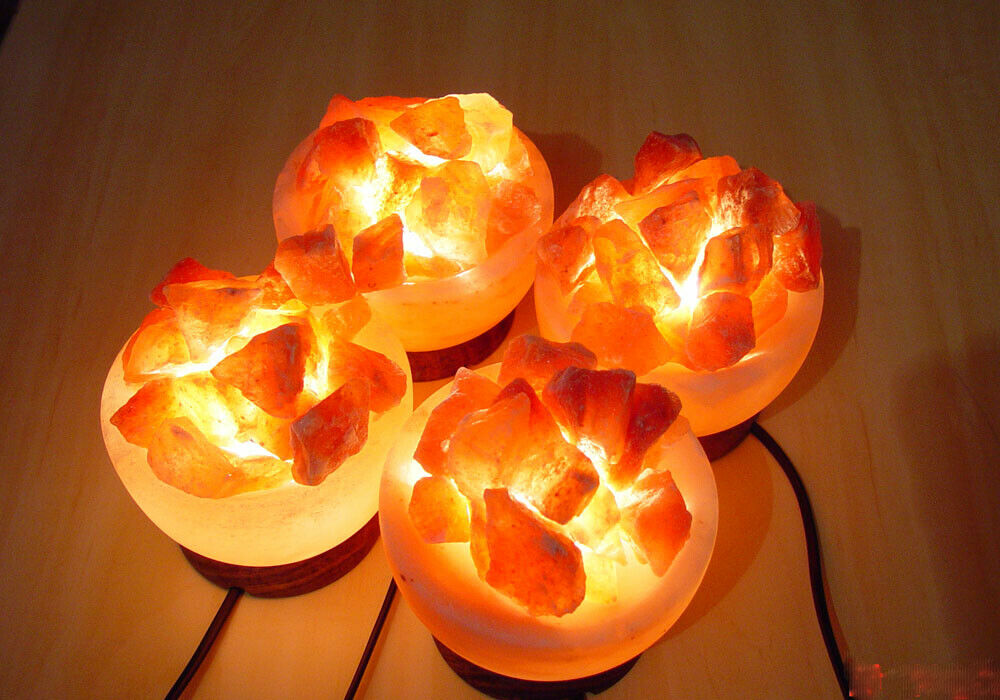 4x Lámpara de Sal del Himalaya Tazón Fuego Cesta Relajante Ionizador de Luz de Noche Accesorios de Reino Unido
