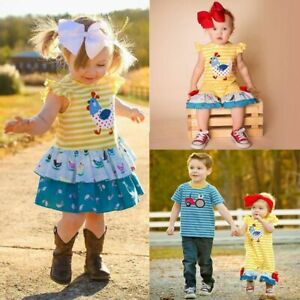 Baby Brothers//Sisters Matching Outfits Boys Striped Tractors Print Shirt Romper Girls Hens Ruffle Dress Summer Clothes