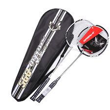 New Fashion 1Pair Carbon Fiber Badminton Racket Racquet With Carry Bag 2016