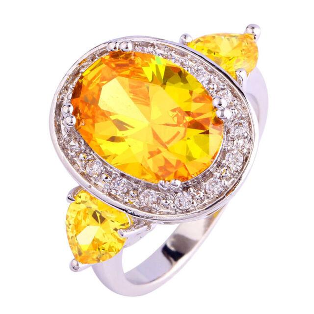 Great Jewelry Citrine White Topaz Gemstone Silver Women Ring Size 7 8 9 10 11