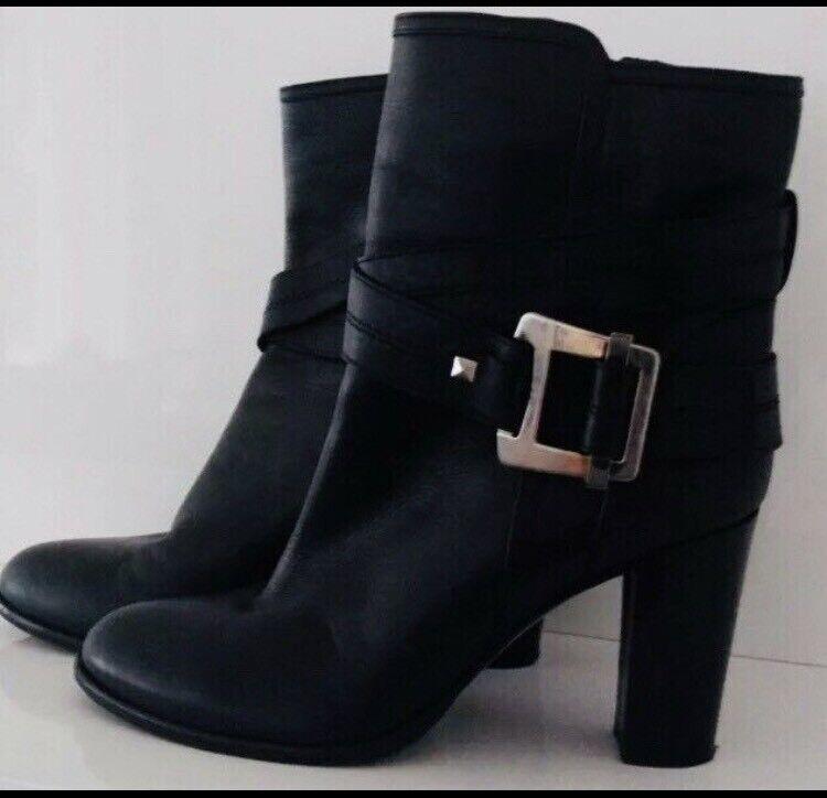 Laurel Siefeletten Stiefel 37 38 Schwarz Echt Leder