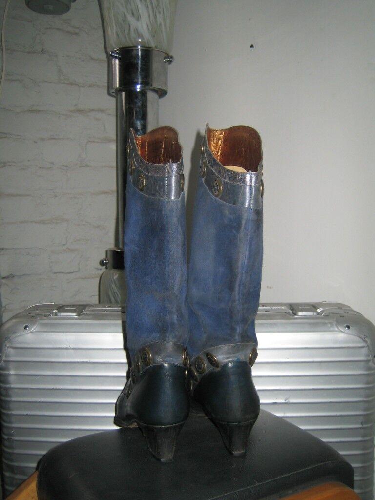 Grandes zapatos con descuento Damenstiefel Giancarlo Porta made in italy 80er TRUE VINTAGE Damen Stiefel blau