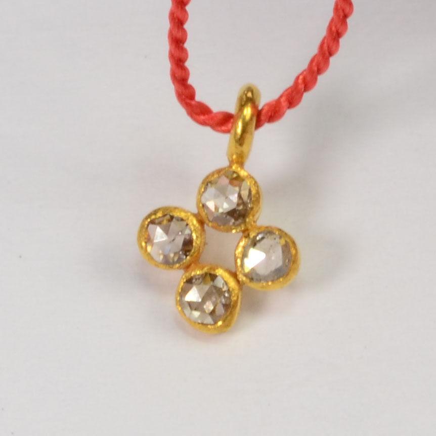 6mmx9mm 18k Solid Yellow gold pink Cut Champagne Diamond Charm Pendant