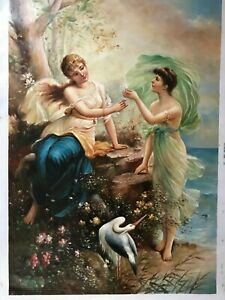 Beautiful-Oil-Painting-on-Canvas-24-034-x-36-034-Young-Godness-Angel-Portrait