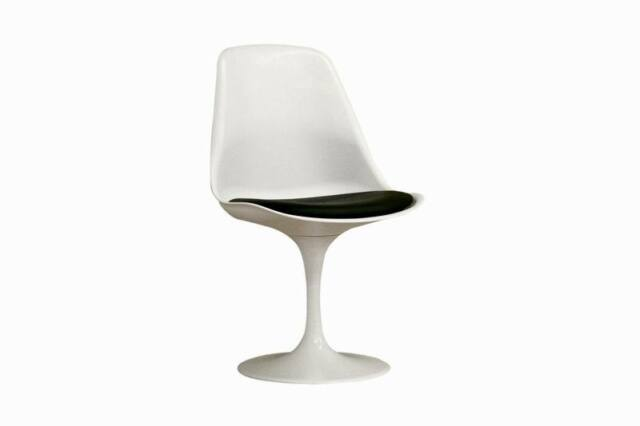 WHITE TULIP 'SAARINEN' STYLE DINING SIDE CHAIR WITH BLACK VINYL CUSHION SWIVEL