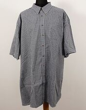 Harbor Bay - Mens Big & Tall Loose Fit Short Sleeve Blue Pink Plaid Check Shirt