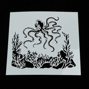 Painting-Stencil-octopus-Shape-Patterns-Drawing-Airbrush-Kids-Gift-Craft-JJQ6Q