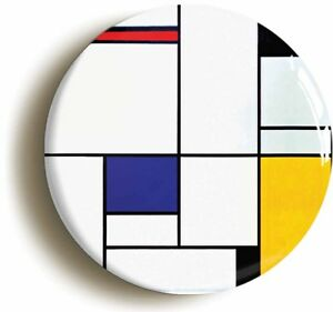 PIET-MONDRIAN-TABLEAU-BADGE-BUTTON-PIN-Size-1inch-25mm-diameter-DE-STIJL-ART