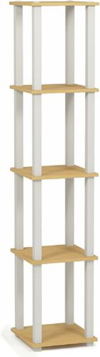 Beech//White Details about  /Furinno Turn-S-Tube 5-Tier Corner Square Rack Display Shelf