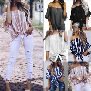 Women-039-s-Solid-Off-Shoulder-Loose-Bell-Sleeve-Shirt-Tie-Knot-Casual-Blouses-Tops
