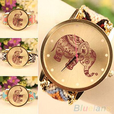 Popular Women's Retro Knitted Elephant Pattern Quartz Analog Bangle Wrist Watch