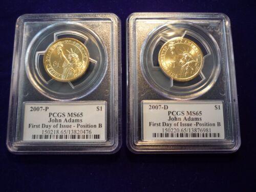 2007 P /& D  PCGS MS65   FDI  John Adams Dollar 2 Coin Set