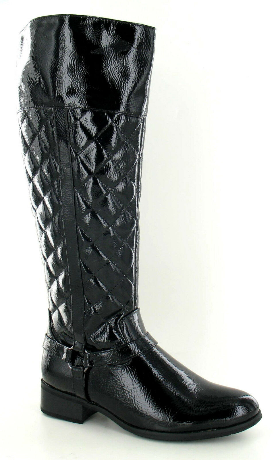 Spot On F50192 Ladies Black Patent High Zip Up Quilted Riding Boot (R36A)(Kett)