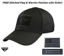 Condor Flex Tactical Cap (Black) +FREE Stitched Velcro Flag Patch (Large/XLarge)