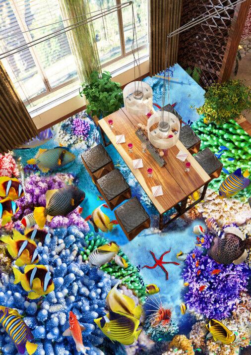 3D Farbeed Fish Coral 46 Floor WallPaper Murals Wall Print Decal AJ WALLPAPER US