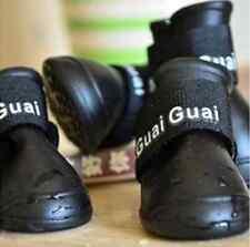 4PCS Small Black Color Protective waterproof Rubber Dog Boots Pet Rain Shoes US