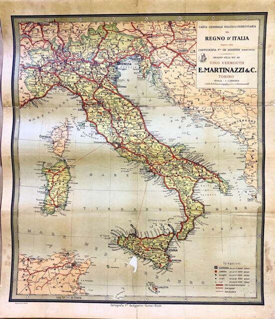 Cartina Ferroviaria Sicilia.Carta Generale Politico Ferroviaria Del Regno D Italia Cartografia 900 Ebay