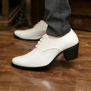 New-Mens-Pointed-toe-Lace-Up-oxfords-Leather-cuban-heel-Formal-Dress-Shoes