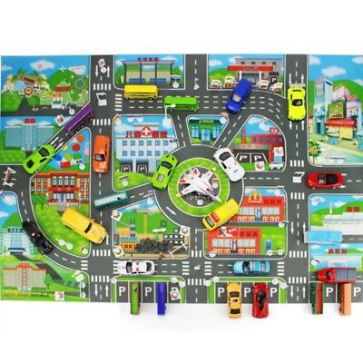 Children Kid Rugs Town Road Map City Cars Toy Rug Play