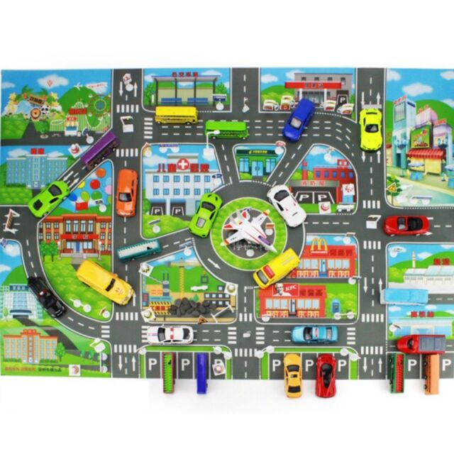 Children Kid Rugs Town Road Map City Cars Toy Rug Play Village Mat