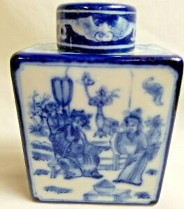 Asian-Oriental-Medicine-Bottle-Jar-Square-5-034-Tall-Blue-White