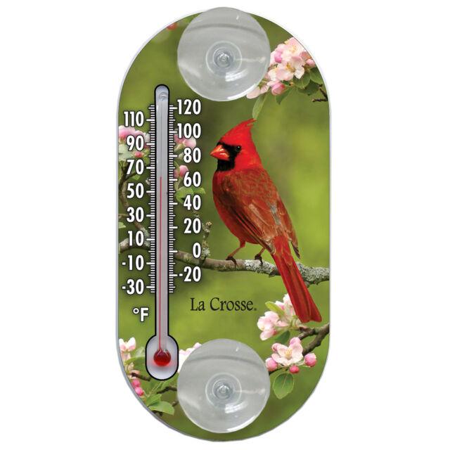 204 104 La Crosse 4 Indoor Outdoor Window Thermometer Cardinal For Online