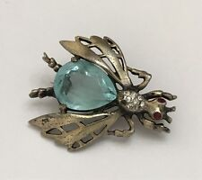 RARE Vintage REJA Signed Sterling Silver Jelly Belly Bug Insect Pin Brooch