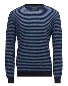 Polo Ralph Lauren Men's Pima Cotton Striped Crew Neck Sweater Navy Blue