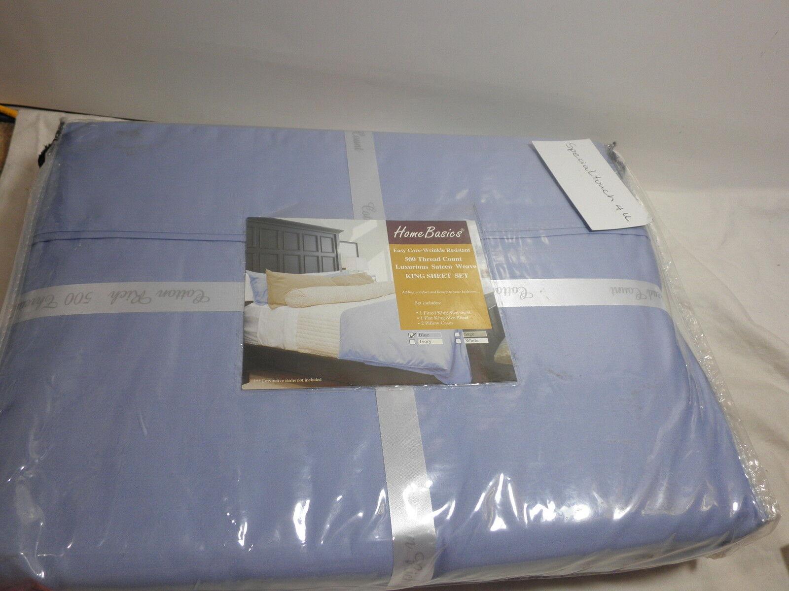 New R & R Textile Mills Home Basics  Sateen Weave Blau King Sheet Set 500 TC NIP