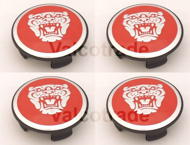 Red Wheel Centre Caps to fit Jaguar Alloys. Hub Cover XF XJ XK S-TYPE X-TYPE Set