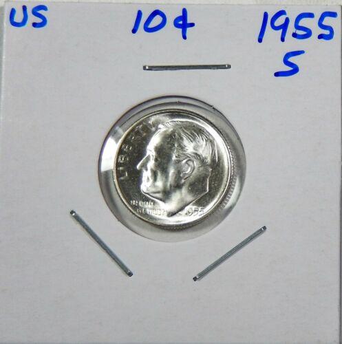 1955-S Roosevelt Dime 90/% Silver Gem