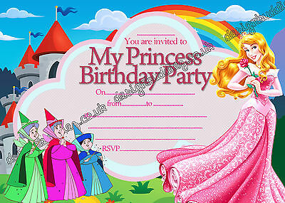 Disney Princess Aurora Sleeping Beauty Birthday Party Invitations Pack 8 Cards