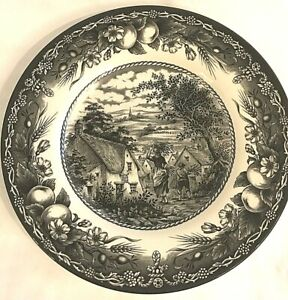 Royal-Stafford-Red-Bull-Inn-Pattern-Salad-Plate-Black-White-Fruit-8-5