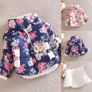 542000ac6dda Child Kid Girl Floral Printed Winter Warm Jacket Thick Coat ...