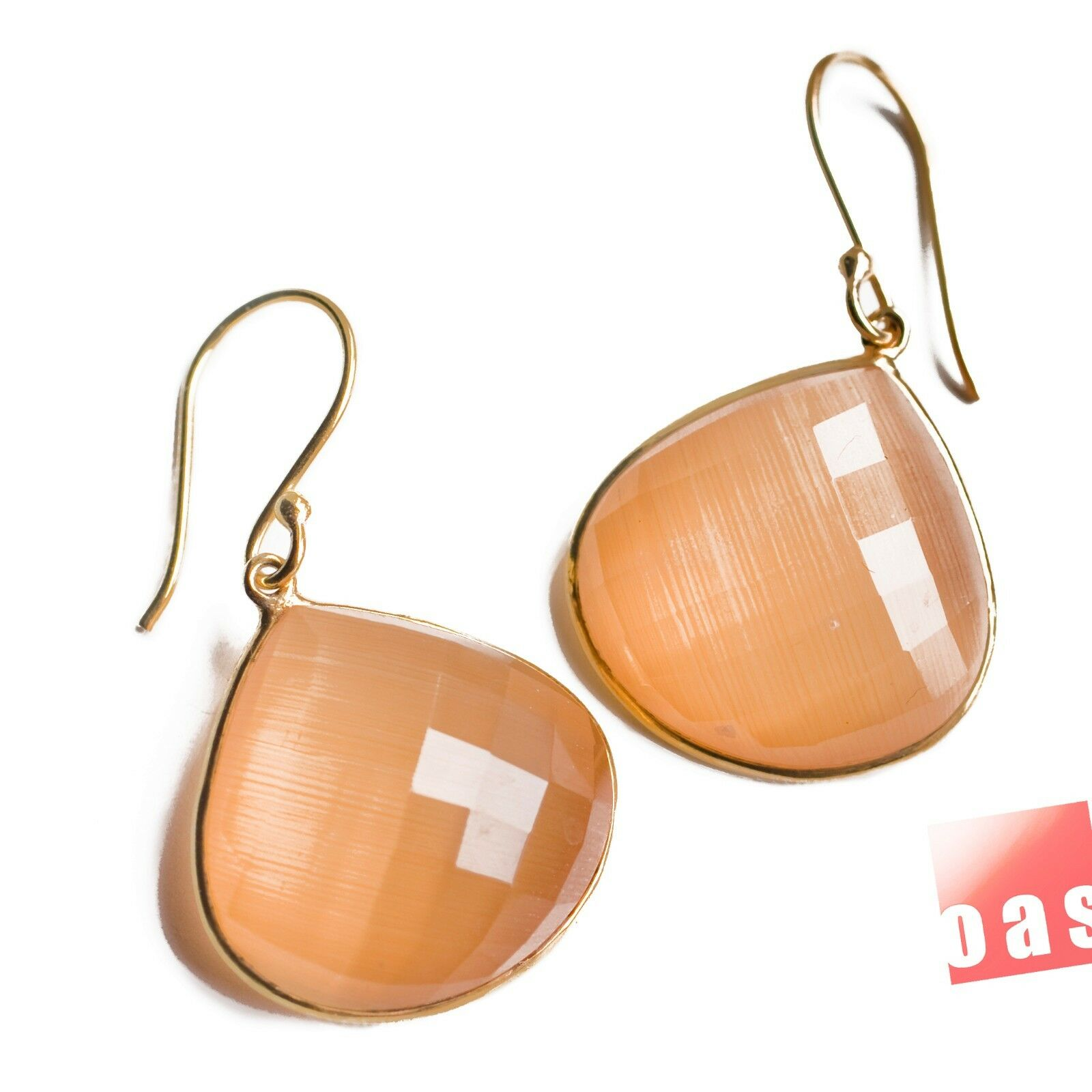 ONE OF A KIND Peachy chalcedony Faceted Doublets Vermeil Earrings