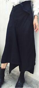 Japanese-Designer-Style-Asymmetric-Drape-Black-Crepe-Skirt-Pants