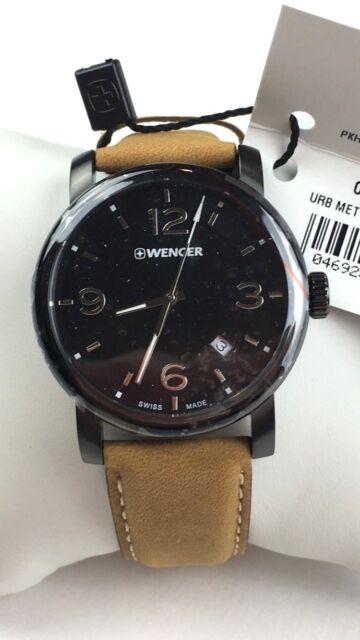 Wenger Urban Metropolitan Swiss Quartz Watch Brown Leather Strap 41mm Black Face