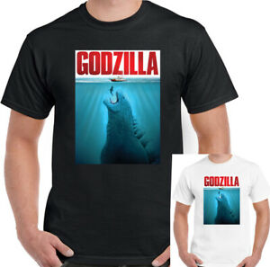 Godzilla-T-Shirt-Mens-Jaws-Unisex-Top-Movie