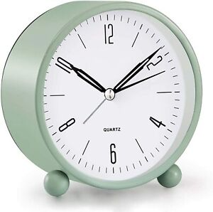 Analog Alarm Clock, 4 inch Super Silent Non Ticking Small Clock with Night Light